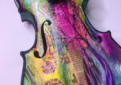 Hand Painted Mixed Media Violin