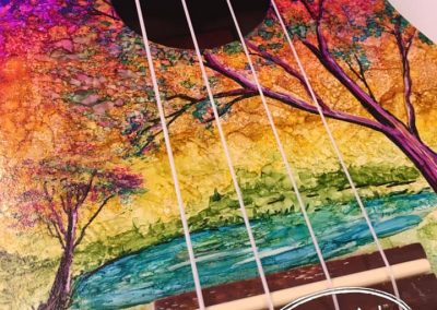 Whimsical Painted Ukelele Closeup