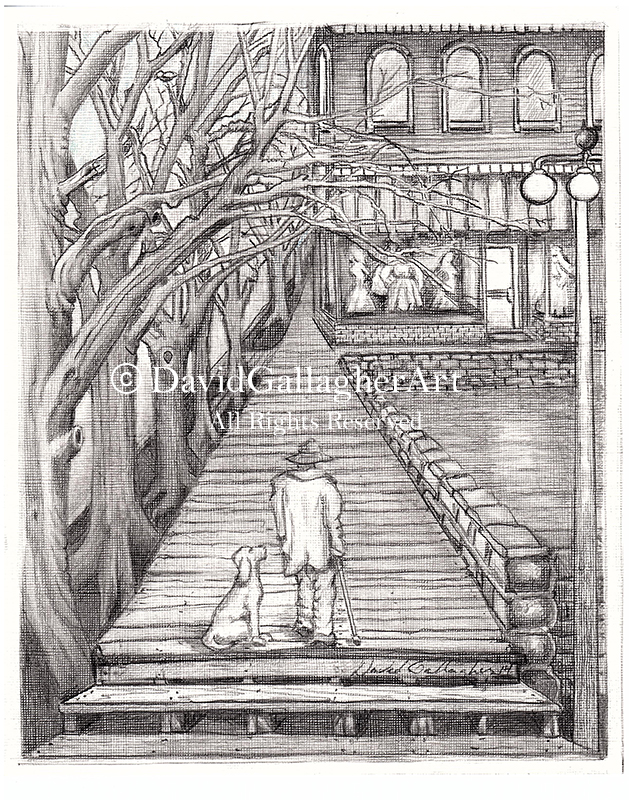 On the Boardwalk Pencil on Canvas by David Gallagher