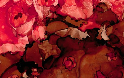 Chocolate & Roses, Alcohol Ink Abstract