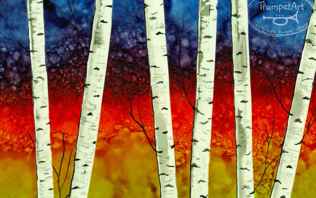 Birches - Alcohol Ink Painting