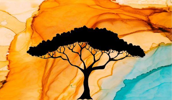 Desert Tree Silhouette Simple Screen