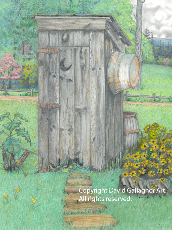 Outhouse - Pastel on Canvas Paper