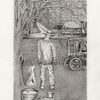 A Farmer and his Dog Fine Art Print